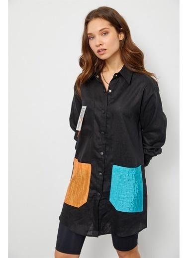 Setre Siyah Keten Çıtçıtlı Renkli Cepli Tunik Siyah